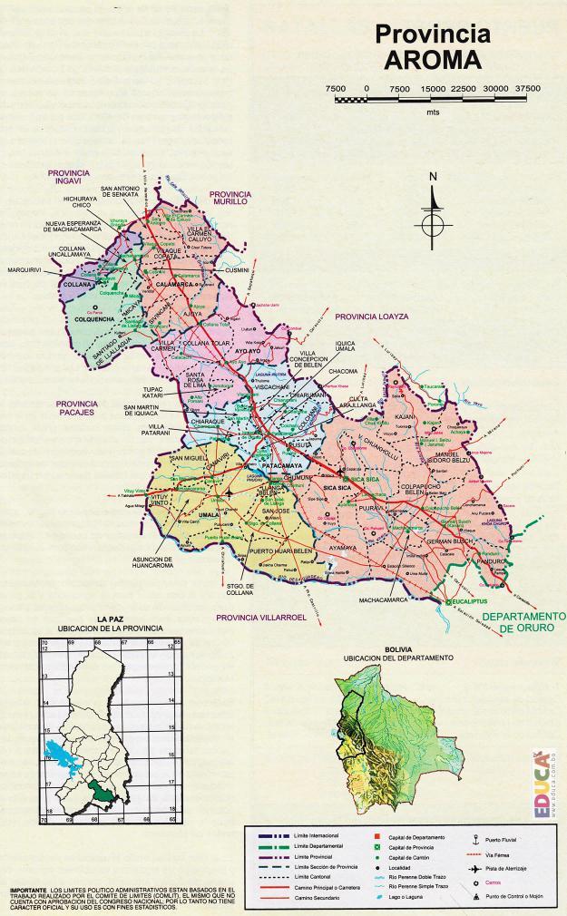 Mapa Provincia Aroma - La Paz Bolivia