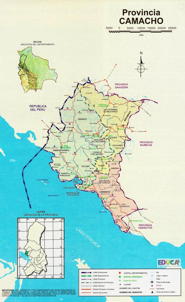Mapa Provincia Camacho - La Paz Bolivia