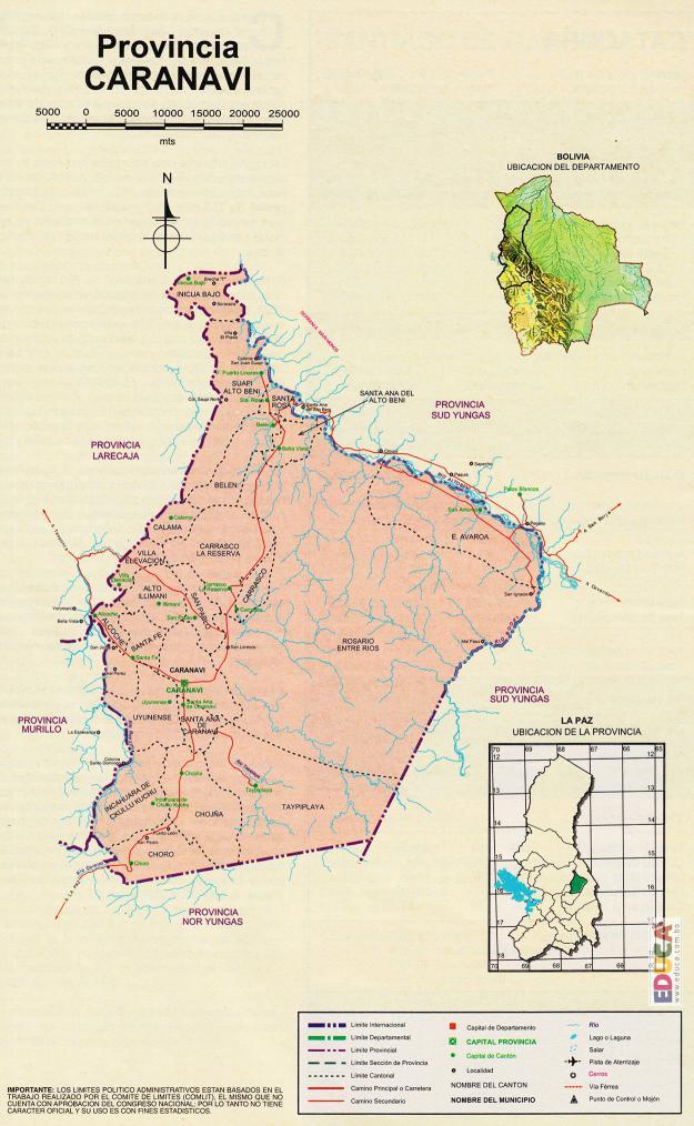 Mapa Provincia Caranavi - La Paz Bolivia