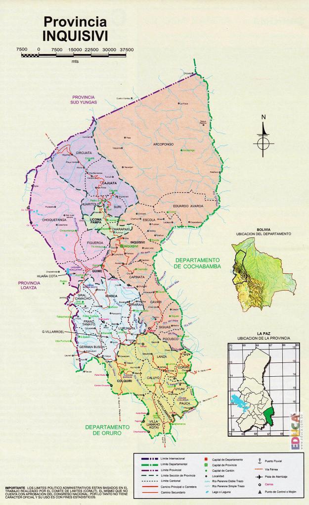 Mapa Provincia Inquisivi - La Paz Bolivia