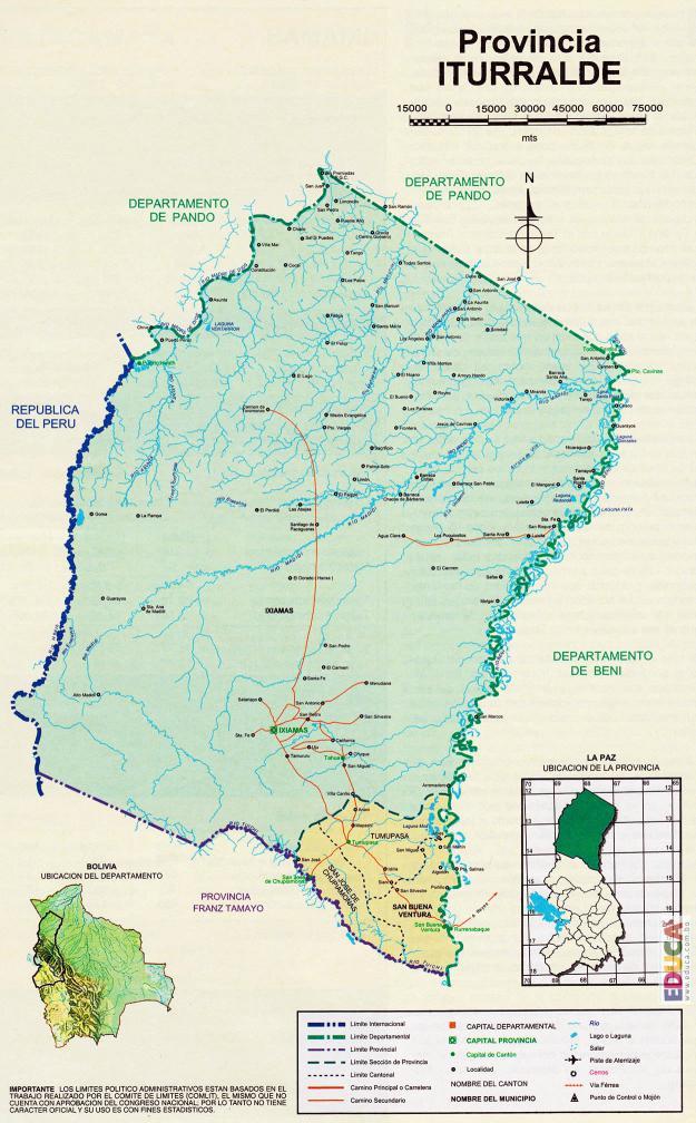 Mapa Provincia Abel Iturralde - La Paz Bolivia
