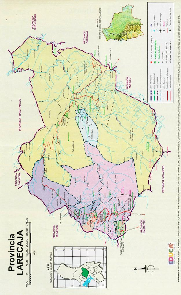 Mapa Provincia Larecaja La Paz - Bolivia