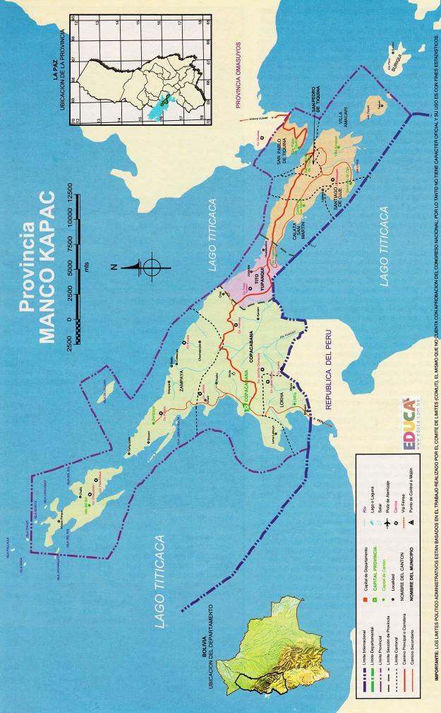 Mapa Provincia Manco Kapac - La Paz Bolivia