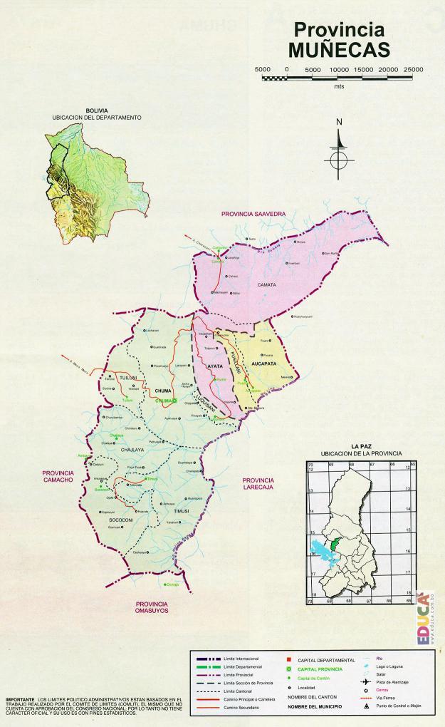 Mapa Provincia Muñecas - La Paz Bolivia