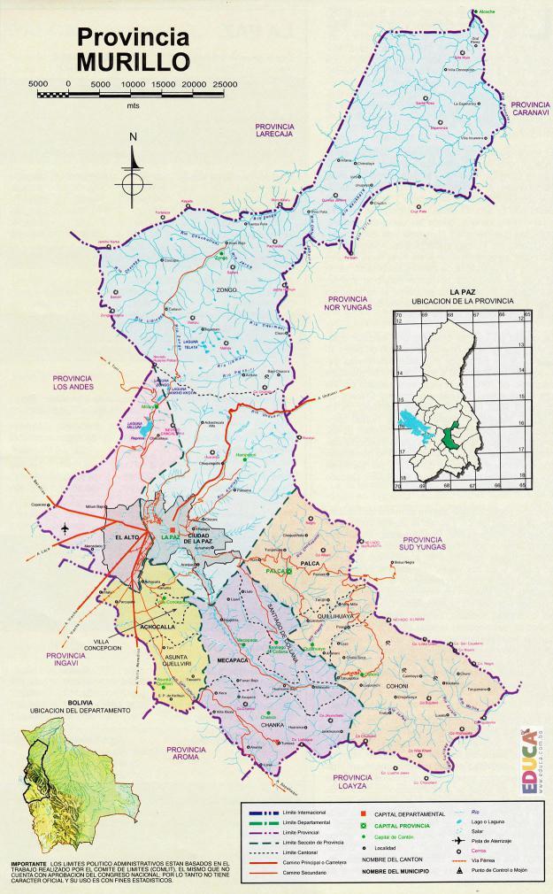 Mapa Provincia Murillo La Paz Bolivia