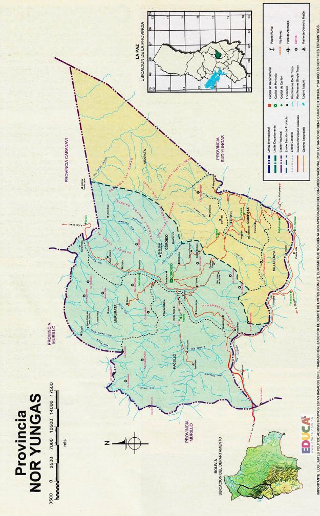 Mapa Provincia Nor Yungas - La Paz Bolivia