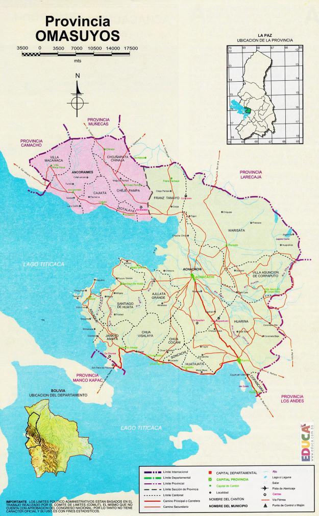Mapa Provincia Omasuyos - La Paz Bolivia