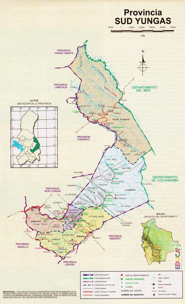 Mapa Provincia Sur Yungas - La Paz Bolivia