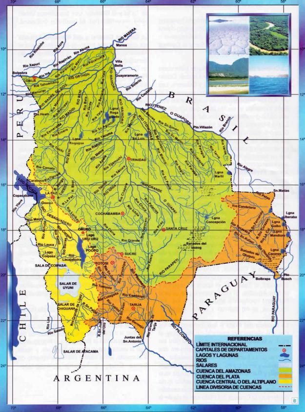 Mapa Hidrografico de Bolivia - Mapas de Bolivia