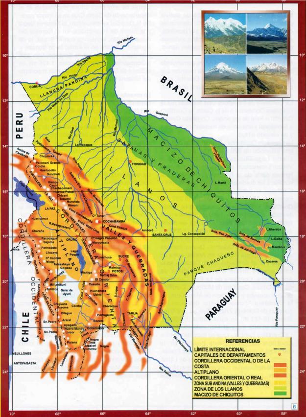 Mapa Orográfico de Bolivia - Mapas de Bolivia