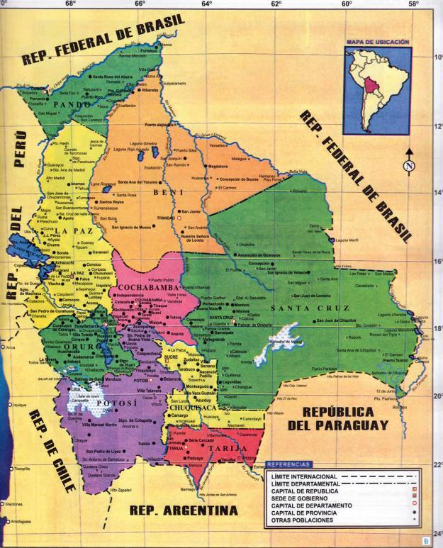 Mapa Político de Bolivia - Mapas de Bolivia