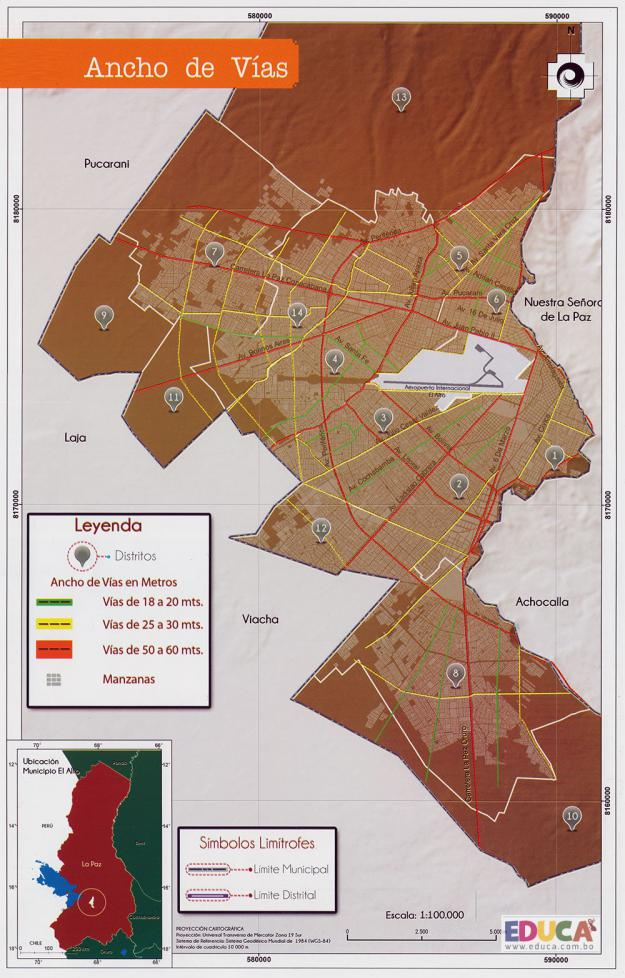 Mapa Ancho de Vías - Municipio de El Alto - La Paz, Bolivia