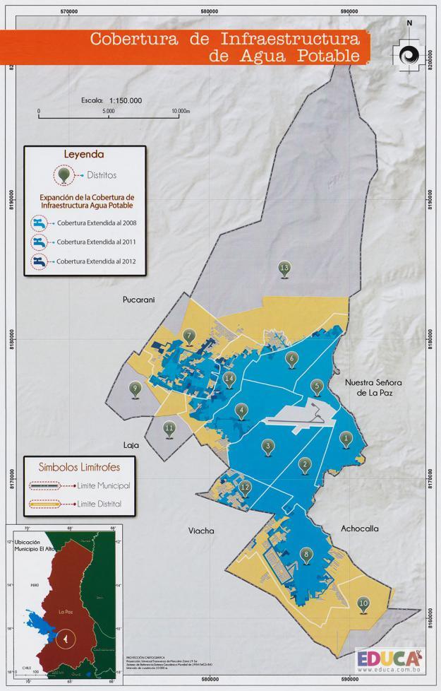 Mapa Cobertura de Infraestructura de Agua Potable - Municipio de El Alto - La Paz, Bolivia