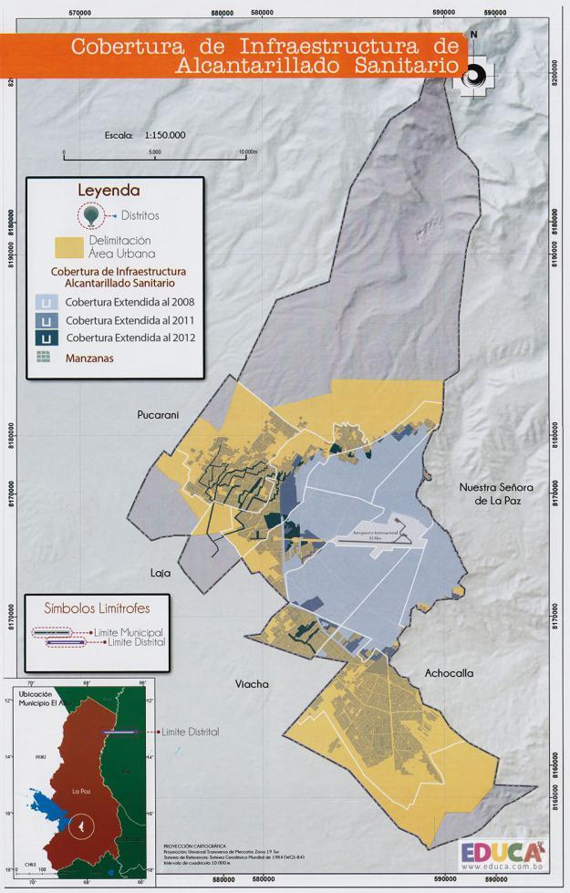 Mapa Cobertura de Infraestructura de Alcantarillado Sanitario - Municipio de El Alto - La Paz, Bolivia