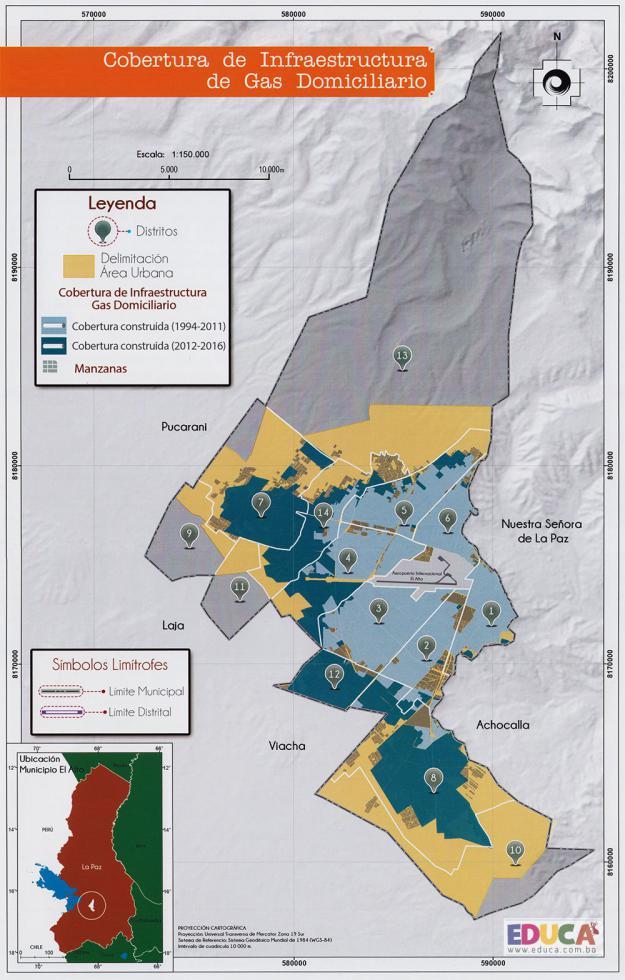 Mapa Cobertura de Infraestructura de Gas Domiciliario - Municipio de El Alto - La Paz, Bolivia.