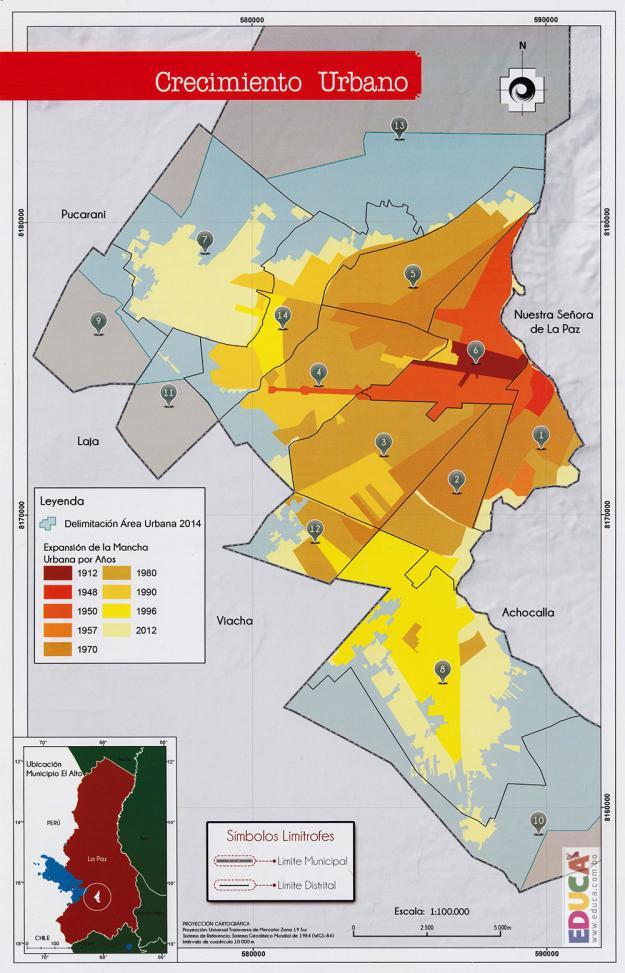 Mapa de Crecimiento Urbano Municipio de El Alto - La Paz, Bolivia
