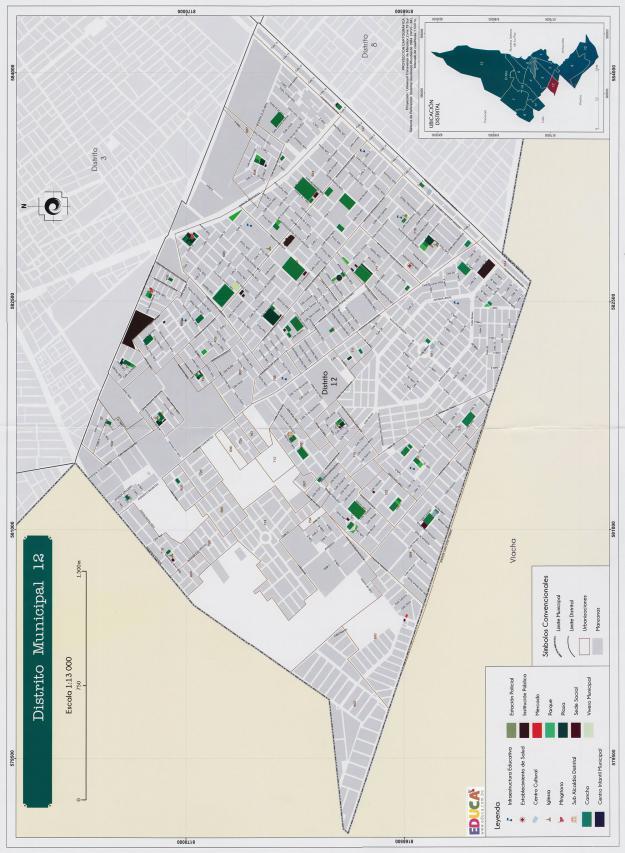 Mapa Distrito Municipal 12 + Equipamiento - Municipio de El Alto - La Paz, Bolivia.