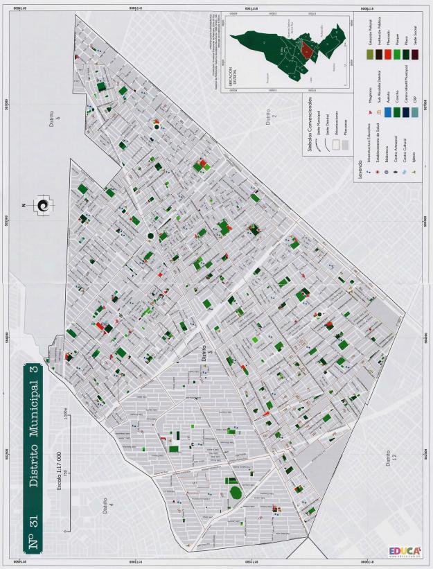 Mapa Distrito Municipal 3 + Equipamientos - Municipio de El Alto - La Paz, Bolivia.