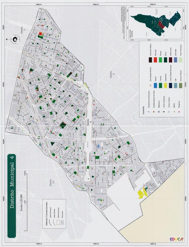 Mapa Distrito Municipal 4 + Equipamiento - Municipio de El Alto - La Paz, Bolivia.