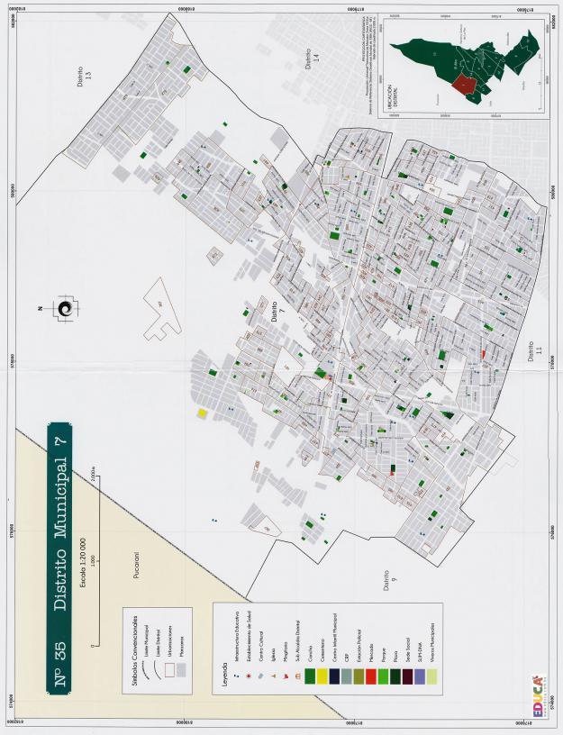 Mapa Distrito Municipal 7 + Equipamiento - Municipio de El Alto - La Paz, Bolivia.