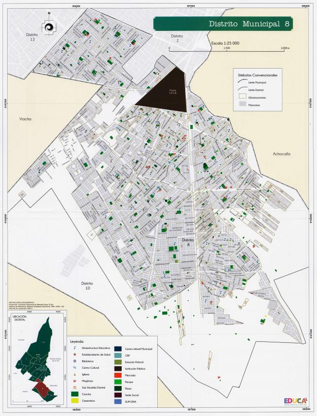 Mapa Distrito Municipal 8 + Equipamiento - Municipio de El Alto - La Paz, Bolivia.