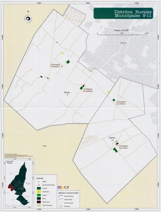 Mapa Distritos Rurales Municipales 9 - 11 + Equipamientos - Municipio de El Alto - La Paz, Bolivia