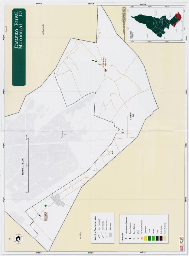 Mapa Distrito Rural Municipal 10 + Equipamiento - Municipio de El Alto - La Paz, Bolivia.