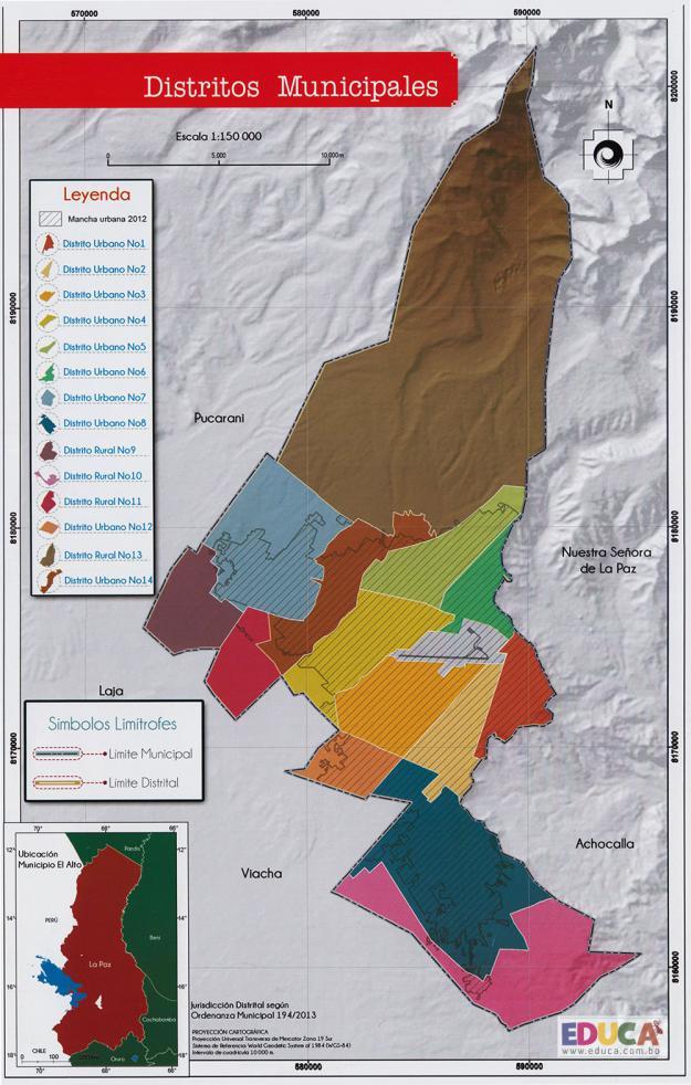 Mapa de Distritos Municipales de El Alto - La Paz, Bolivia