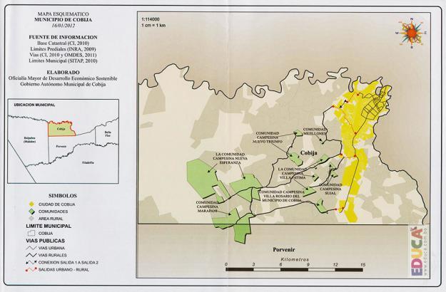Mapa Esquemático, Municipio de Cobija, Pando - Bolivia