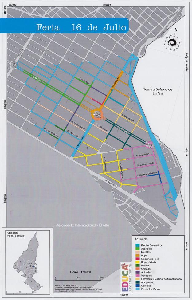 Mapa Feria 16 de Julio, Municipio de El Alto - La Paz, Bolivia.
