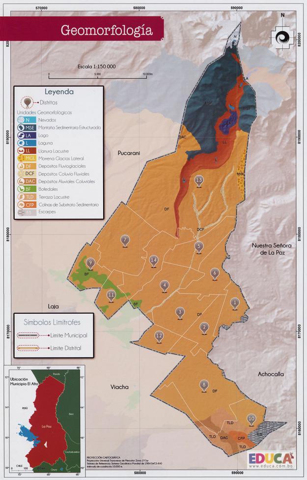 Mapa Geomorfología - Municipio de El Alto - La Paz, Bolivia