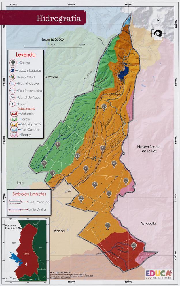 Mapa Hidrografía - Municipio de El Alto - La Paz, Bolivia