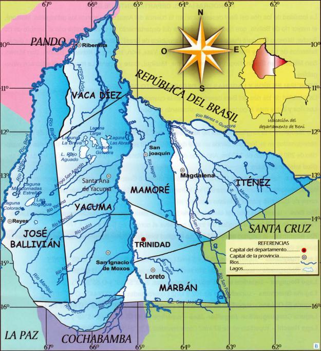 Mapa hidrográfico del Departamento de Beni - Mapas de Bolivia