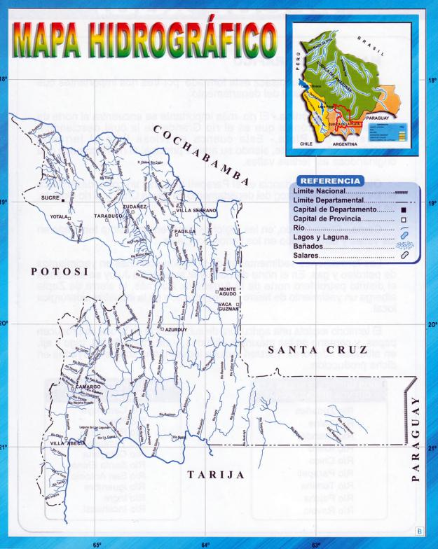 Mapa hidrográfico del Departamento de Chuquisaca - Mapas de Bolivia