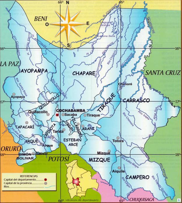 Mapa hidrográfico del Departamento de Cochabamba - Mapas de Bolivia