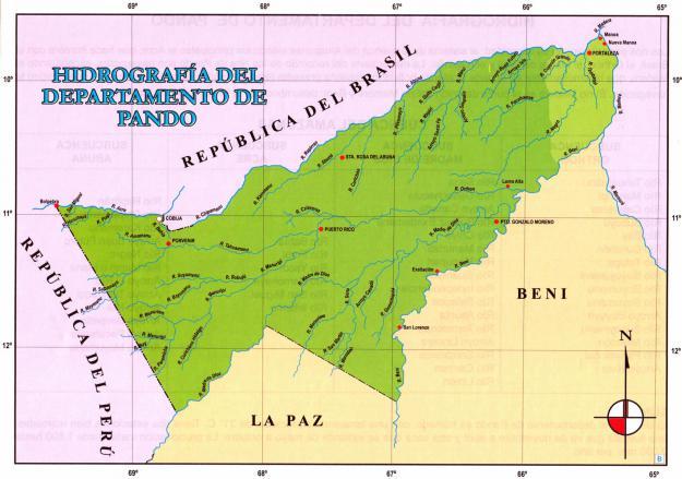 Mapa hidrográfico del Departamento de Pando - Mapas de Bolivia