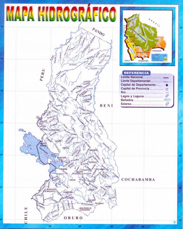 Mapa hidrográfico del Departamento de La Paz - Mapas de Bolivia