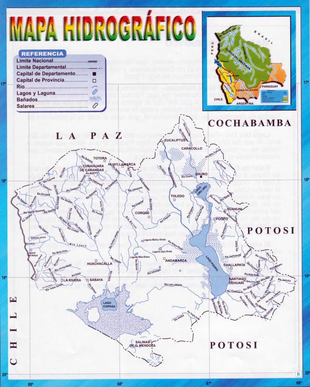 Mapa hidrográfico del Departamento de Oruro - Mapas de Bolivia