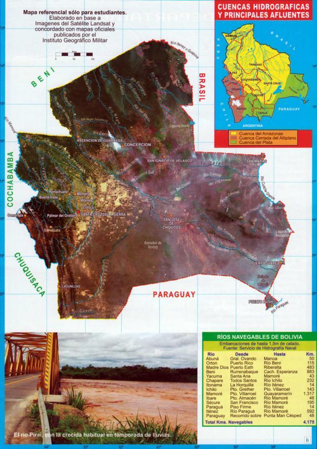Mapa hidrográfico del Departamento de Santa Cruz - Mapas de Bolivia