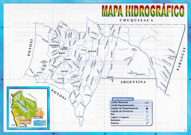 Mapa hidrográfico del Departamento de Tarija - Mapas de Bolivia
