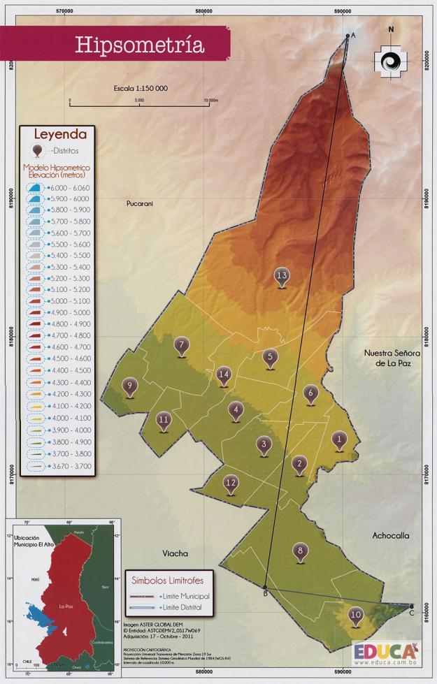 Mapa Hipsometría Municipio de El Alto - La Paz, Bolivia