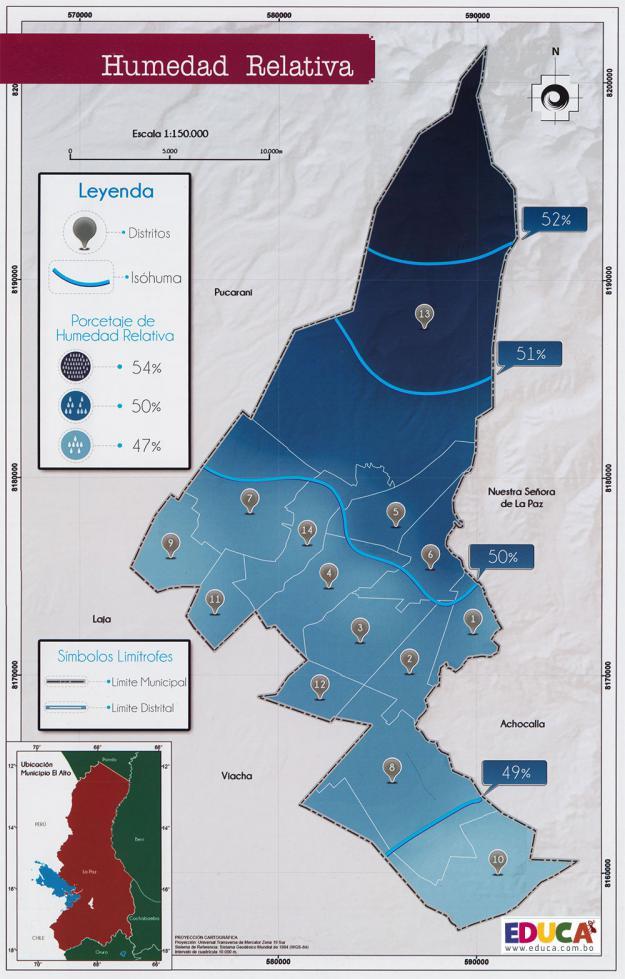 Mapa de Humedad Relativa - Municipio de El Alto - La Paz, Bolivia