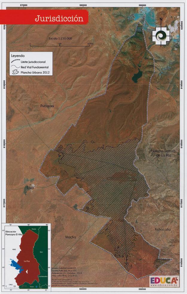 Mapa Jurisdicción Municipal de El Alto - La Paz - Bolivia
