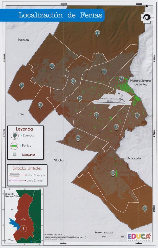 Mapa de Localización de Ferias - Municipio de El Alto - La Paz, Bolivia.