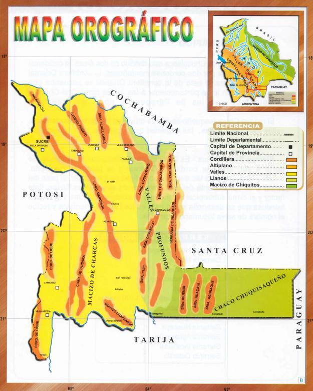 Mapa Orográfico del Departamento de Chuquisaca - Mapas de Bolivia
