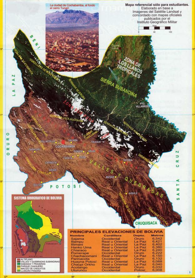 Mapa orográfico del departamento de Cochabamba - Mapas de Bolivia
