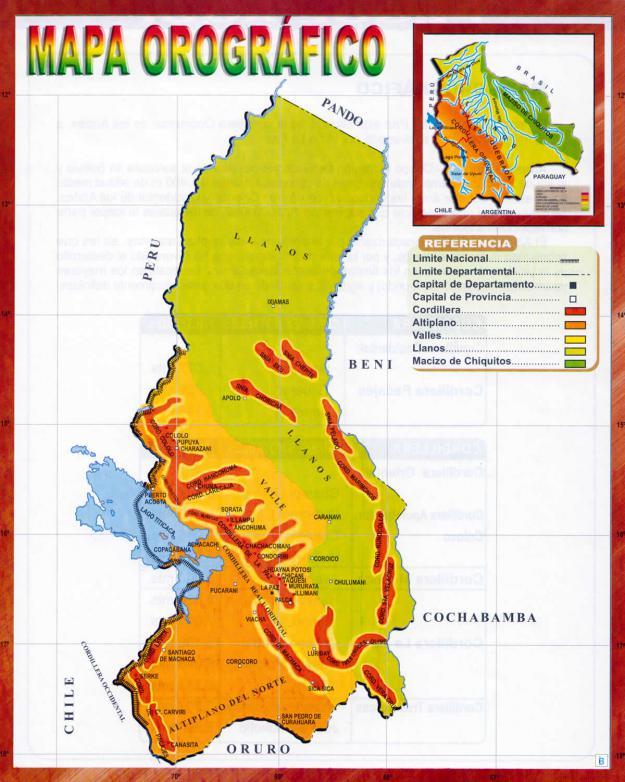 Mapa Orográfico del Departamento de La Paz - Mapas de Bolivia