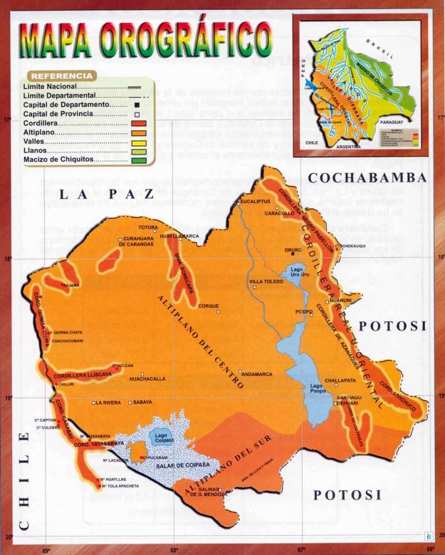 Mapa orográfico del Departamento de Oruro - Mapas de Bolivia