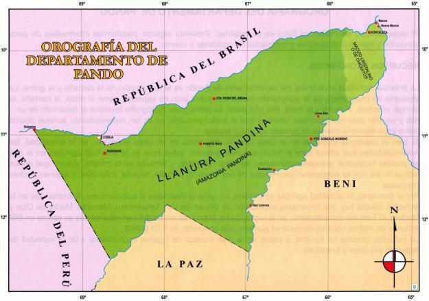 Mapa Orográfico del Departamento de Pando - Mapas de Bolivia