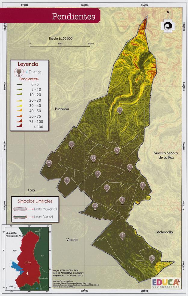 Mapa Pendientes - Municipio de El Alto - La Paz, Bolivia